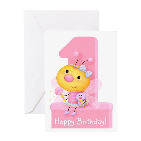Cute Bug Girl's 1st Birthday Greeting Card