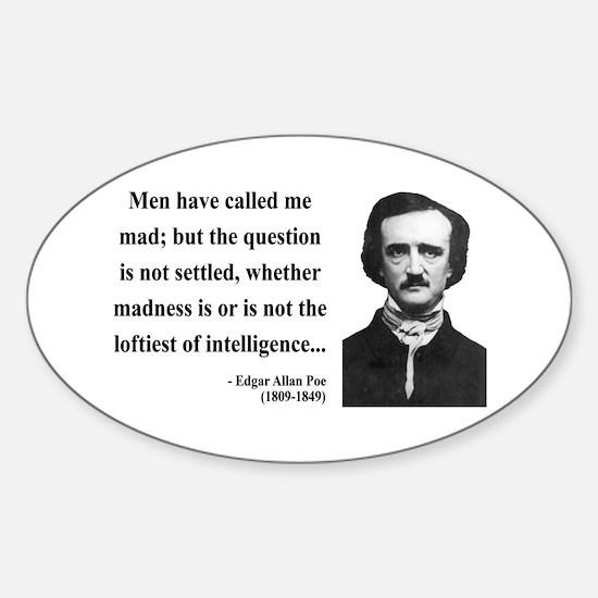 Edgar Allan Poe 18 Oval Decal