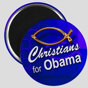 Christians for Obama Magnet (fish, blue)