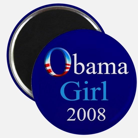 Obama Girl Round Magnet (navy)
