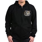 Great Horned Owl Face Zip Hoodie (dark)