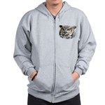 Great Horned Owl Face Zip Hoodie