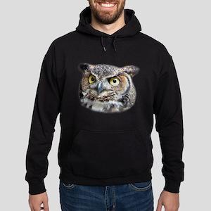 Great Horned Owl Face Hoodie (dark)