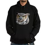 Great Horned Owl Face Hoodie (dark)