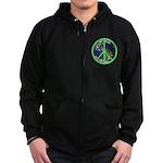 Earth Peace Symbol Zip Hoodie (dark)