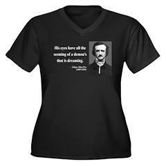 Edgar Allan Poe 24 Women's Plus Size V-Neck Dark T