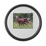 Doe in Grass Large Wall Clock