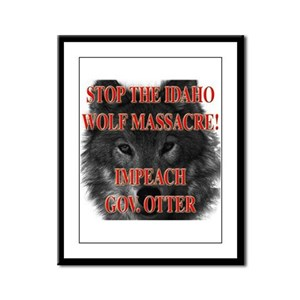 Stop the wolf massacre Framed Panel Print