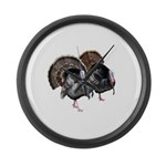 Wild Turkey Pair Large Wall Clock