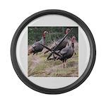 Three Tom Turkey Gobblers Large Wall Clock