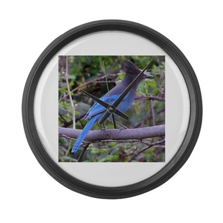 Steller's Jay on Branch Large Wall Clock