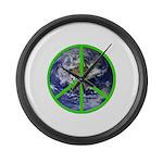 Earth Peace Symbol Large Wall Clock