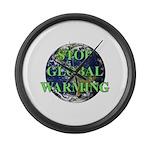 Stop Global Warming Large Wall Clock