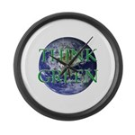 Think Green Earth Large Wall Clock