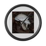 White Mushrooms Large Wall Clock