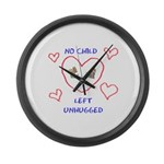 No Child Left Unhugged Large Wall Clock