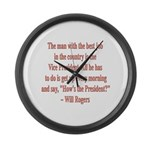 Will Rogers President Quote Large Wall Clock