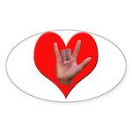 ILY Heart Sticker (Oval 10 pk)