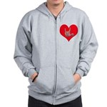 Mom and Baby ILY in Heart Zip Hoodie