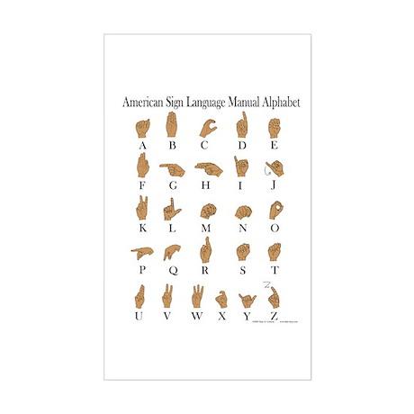 Sign Language Alphabet Sticker (Rectangle)