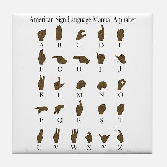 ASL Alphabet Tile Coaster