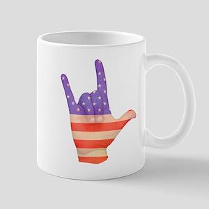 USA Flag ILY sign language hand Mug