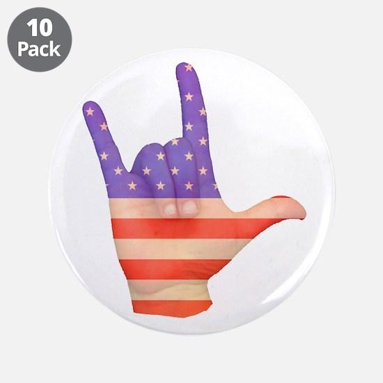 "USA Flag ILY sign language hand 3.5"" Button ("