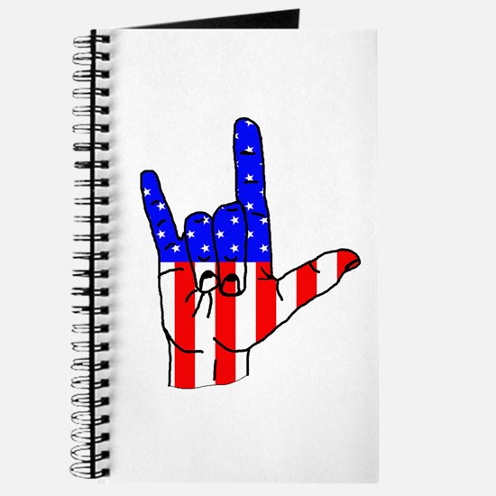 I Love USA Sign Language hand Journal