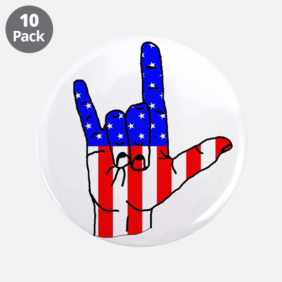 """I Love USA Sign Language hand 3.5"""" Button (10 pack"""