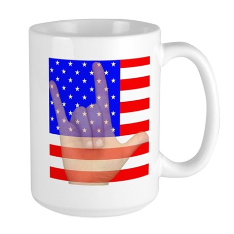 Flag and ASL ILY Hand Large Mug