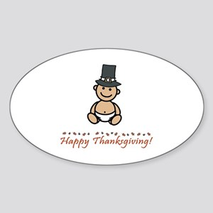 """Happy Thanksgiving!"" Oval Sticker"