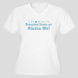 Loves Alaska Girl Women's Plus Size V-Neck T-Shirt