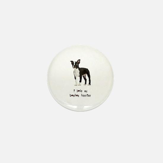 I Love My Boston Terrier Mini Button