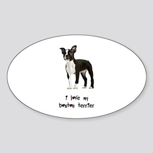 I Love My Boston Terrier Sticker (Oval)