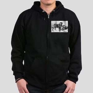 Vintage Tibetan Mastiff Zip Hoodie (dark)