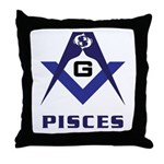 Masonic Pisces Sign Throw Pillow