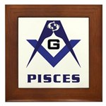Masonic Pisces Sign Framed Tile