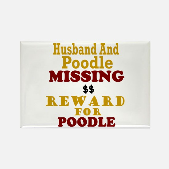Husband & Poodle Missing Rectangle Magnet