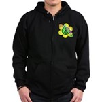 Peace Blossoms / Green Zip Hoodie (dark)