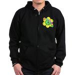 Peace Blossoms / Green Zip Hoodie (dark)