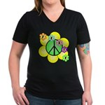 Peace Blossoms / Green Women's V-Neck Dark T-Shirt