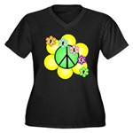 Peace Blossoms / Green Women's Plus Size V-Neck Da