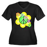 Peace Blossoms / Green Women's Plus Size V-Neck Da