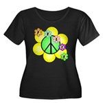 Peace Blossoms / Green Women's Plus Size Scoop Nec