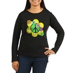 Peace Blossoms / Green Women's Long Sleeve Dark T-