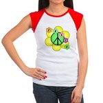 Peace Blossoms / Green Women's Cap Sleeve T-Shirt
