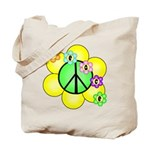 Peace Blossoms / Green Tote Bag
