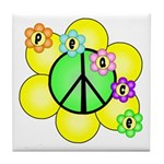 Peace Blossoms / Green Tile Coaster