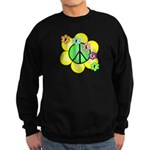 Peace Blossoms / Green Sweatshirt (dark)