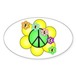 Peace Blossoms / Green Oval Sticker